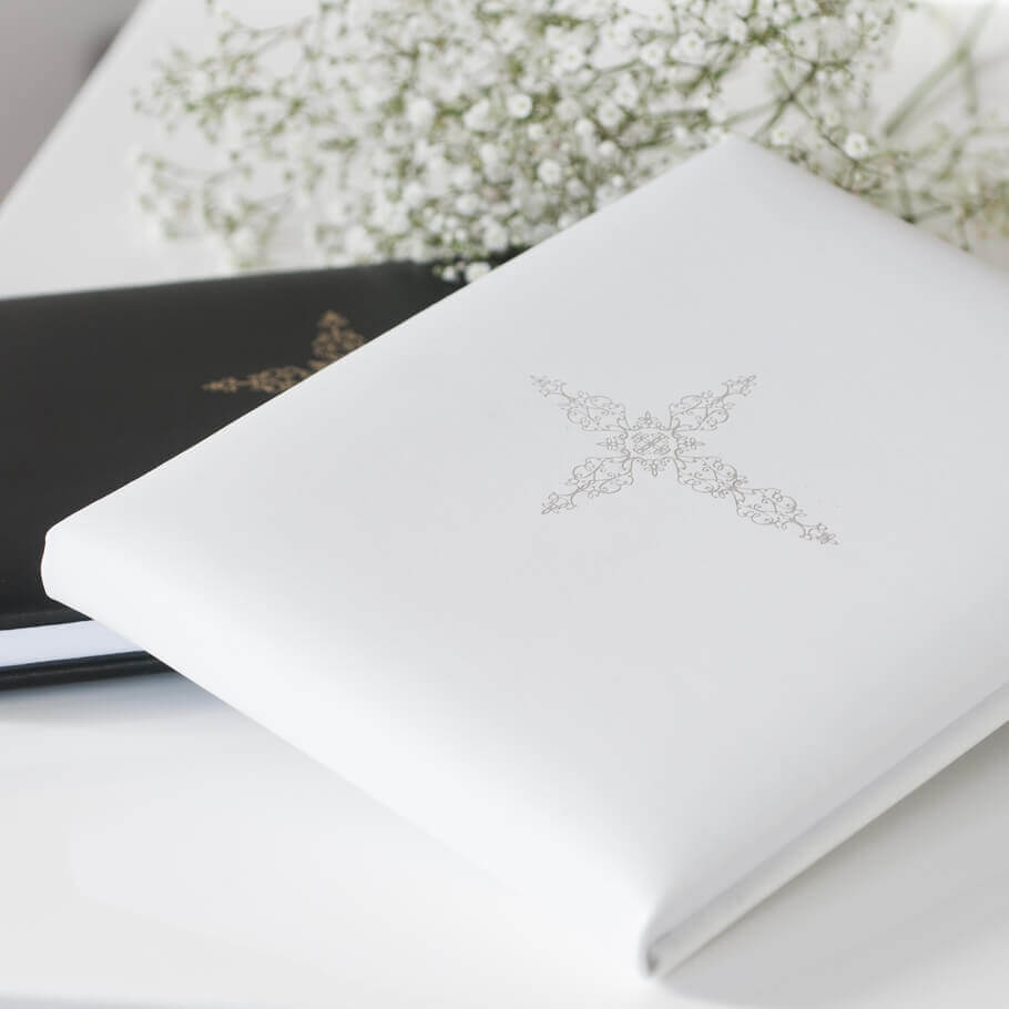 White Leather Cross Signing Book