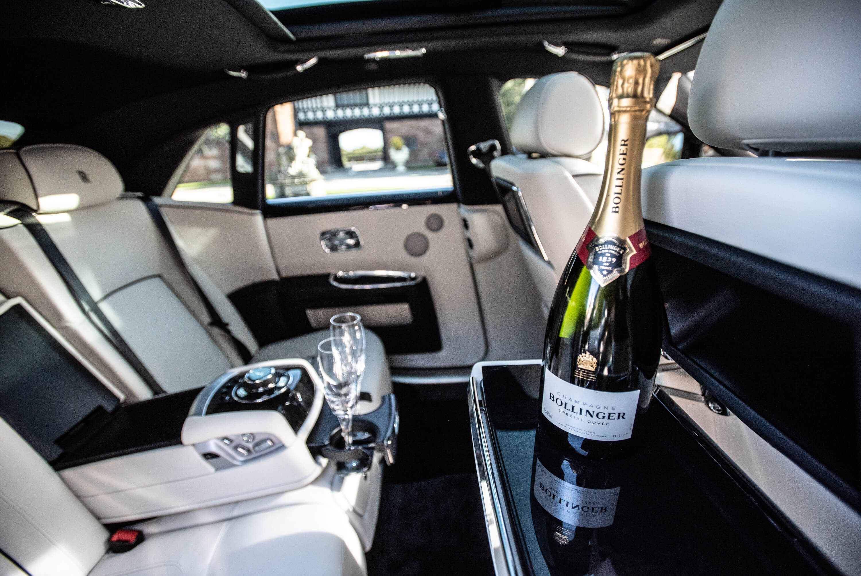Champagne in Wedding Car